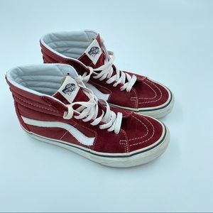 Vans High Top Suede Sneakers Maroon M6.5